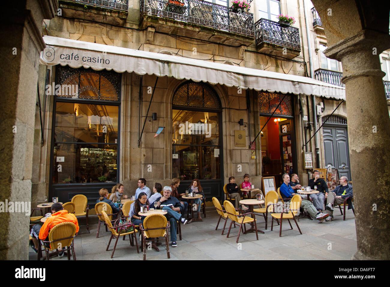 Cafe Casino Santiago de Compostela A Coruña Galicia Spain - Stock Image