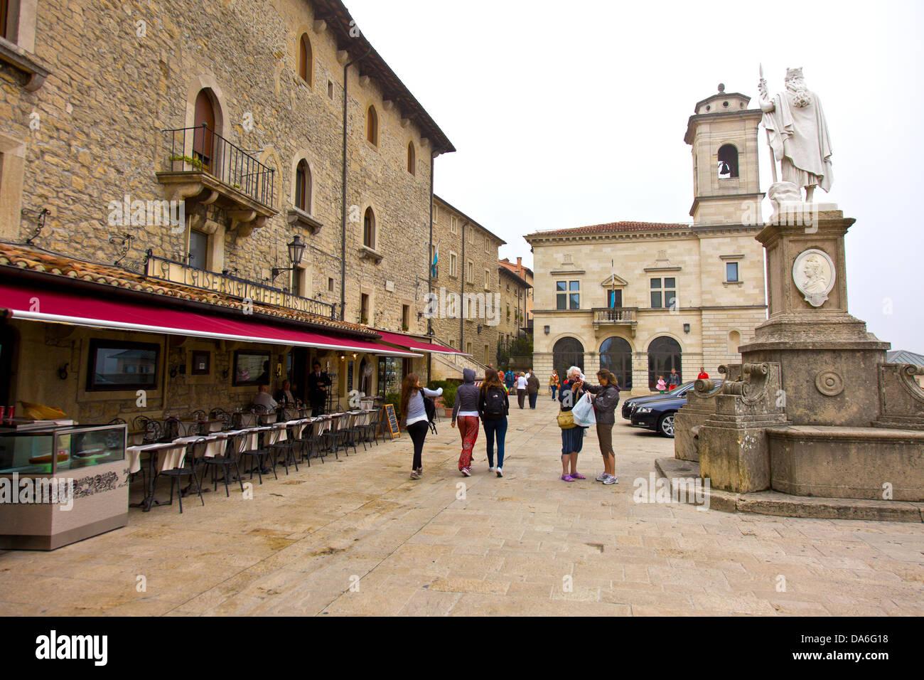 Statua della Libertà , historical town center of San Marino - Stock Image