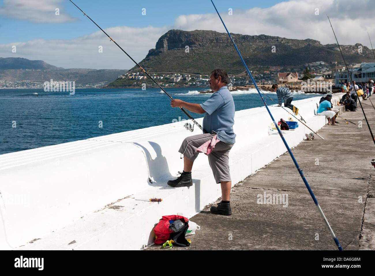 Fishermen, Kalk Bay, False Bay, South Africa - Stock Image