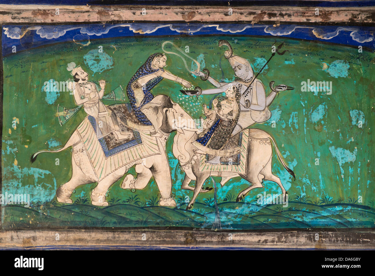 Woman on an elephant offering sacrifices to the god Shiva on Nandi, optical illusion, wall painting or fresco painted Stock Photo
