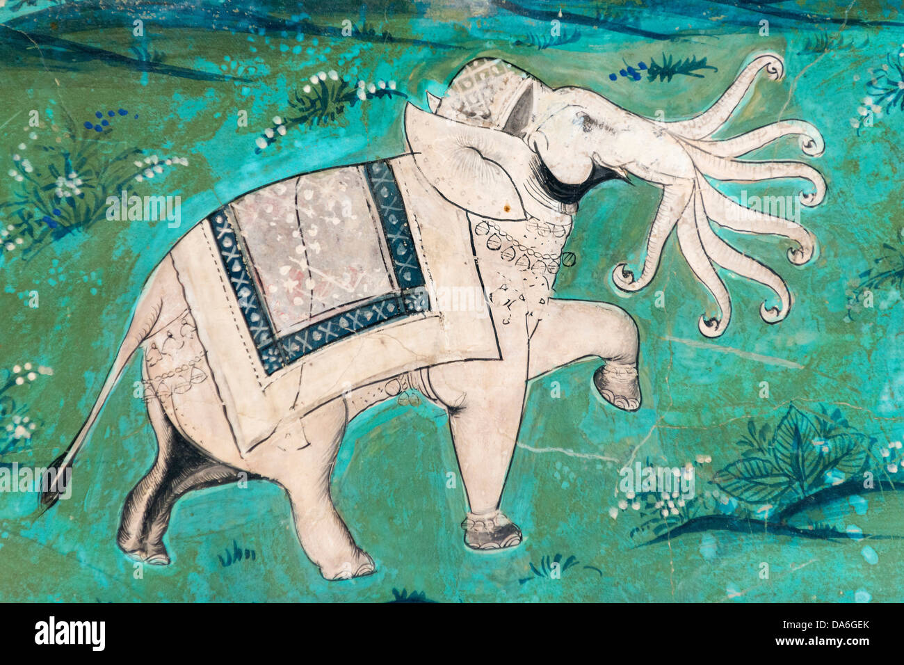 Airavata Or Ardha Matanga, A Mythical White Elephant With Seven Trunks,  Wall Painting