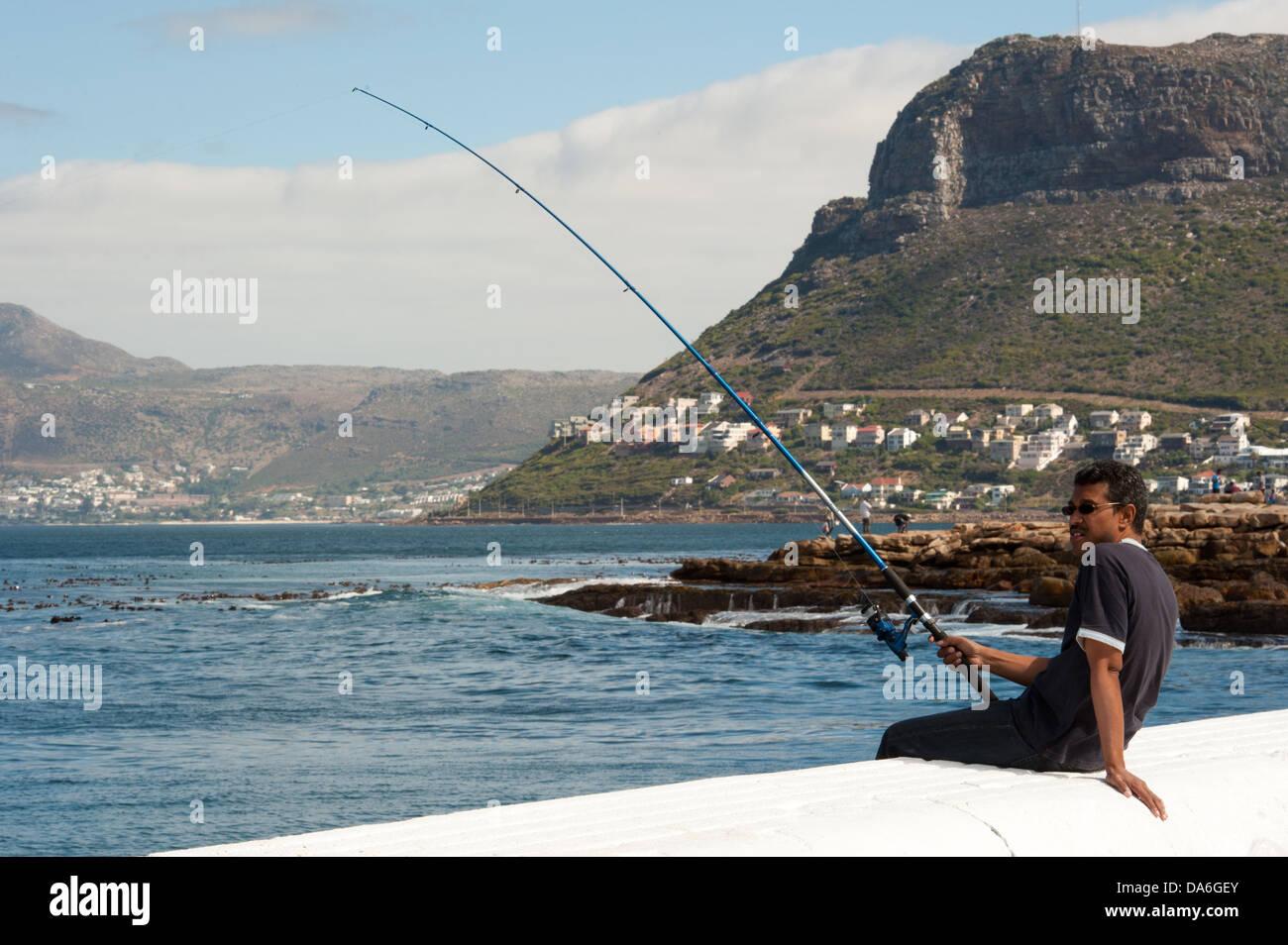 Fisherman, Kalk Bay, False Bay, South Africa - Stock Image
