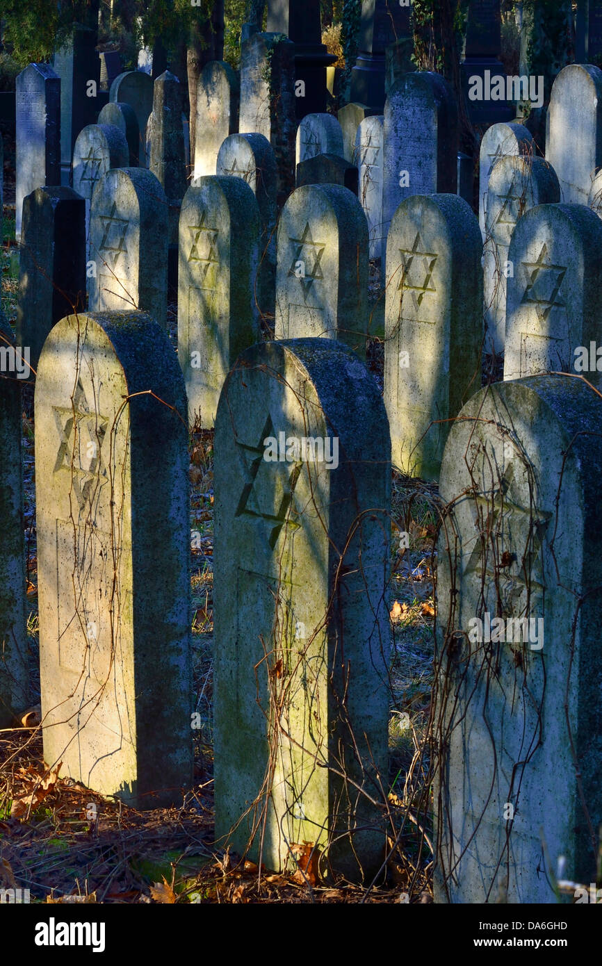 Group of old grave stones with Stars of David, Old Jewish cemetery, Zentralfriedhof central cemetary - Stock Image