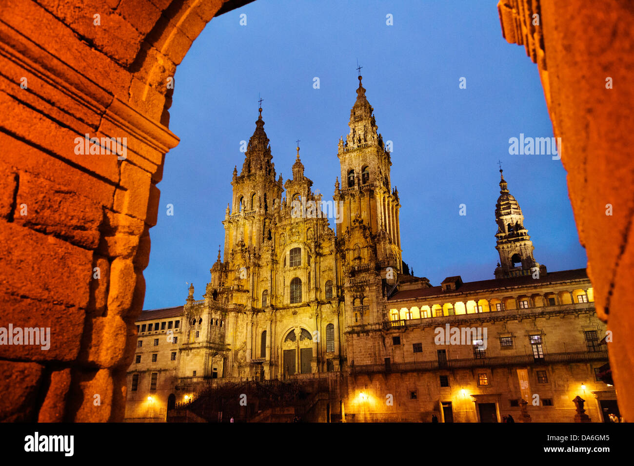 Romanesque Cathedral World Heritage Camino Xacobeo Plaza del Obradoiro Santiago de Compostela A Coruña Galicia Spain Stock Photo