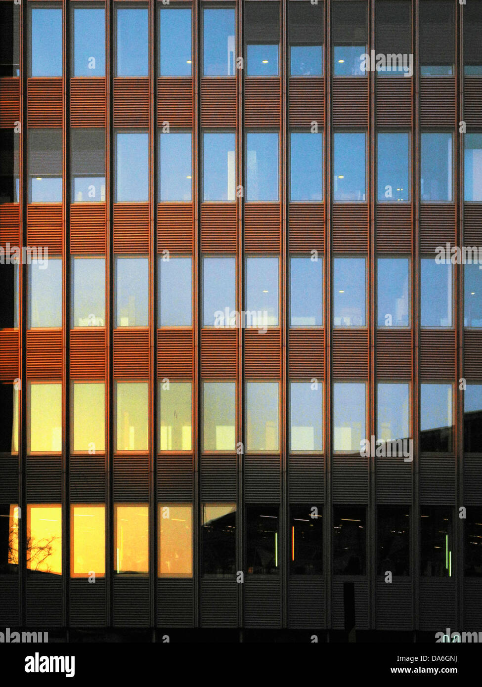 Sunlit windows of office building - Stock Image