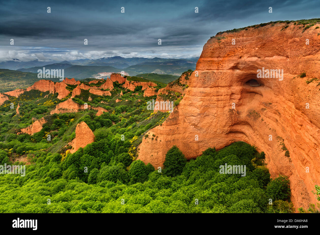 Nature landscape Las Médulas Roman gold mining World Heritage Site El Bierzo Leon Castilla Spain - Stock Image