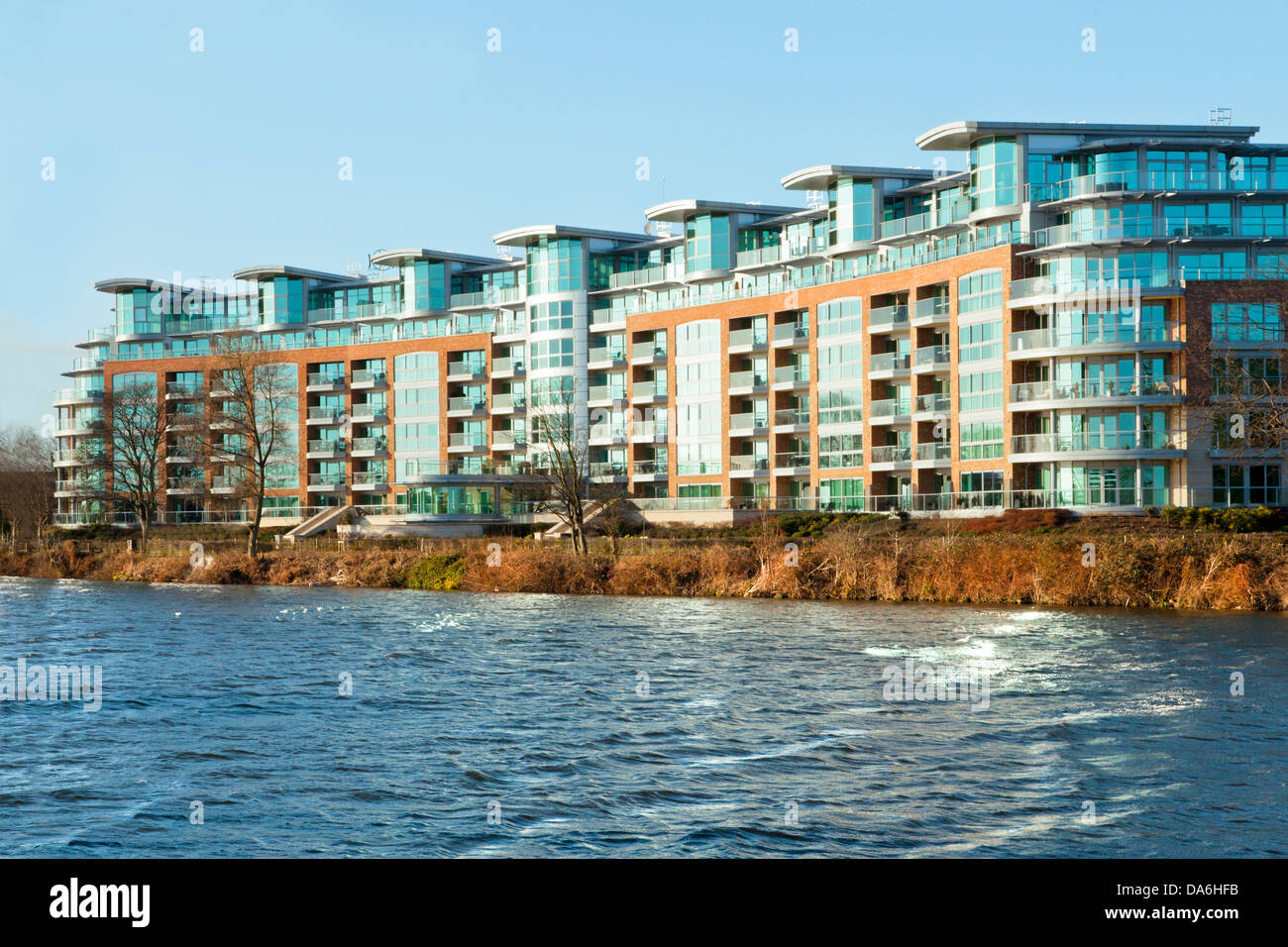 Elegant River Crescent, Modern Waterfront Apartments Built On The Banks Of The  River Trent In Nottingham, England, UK