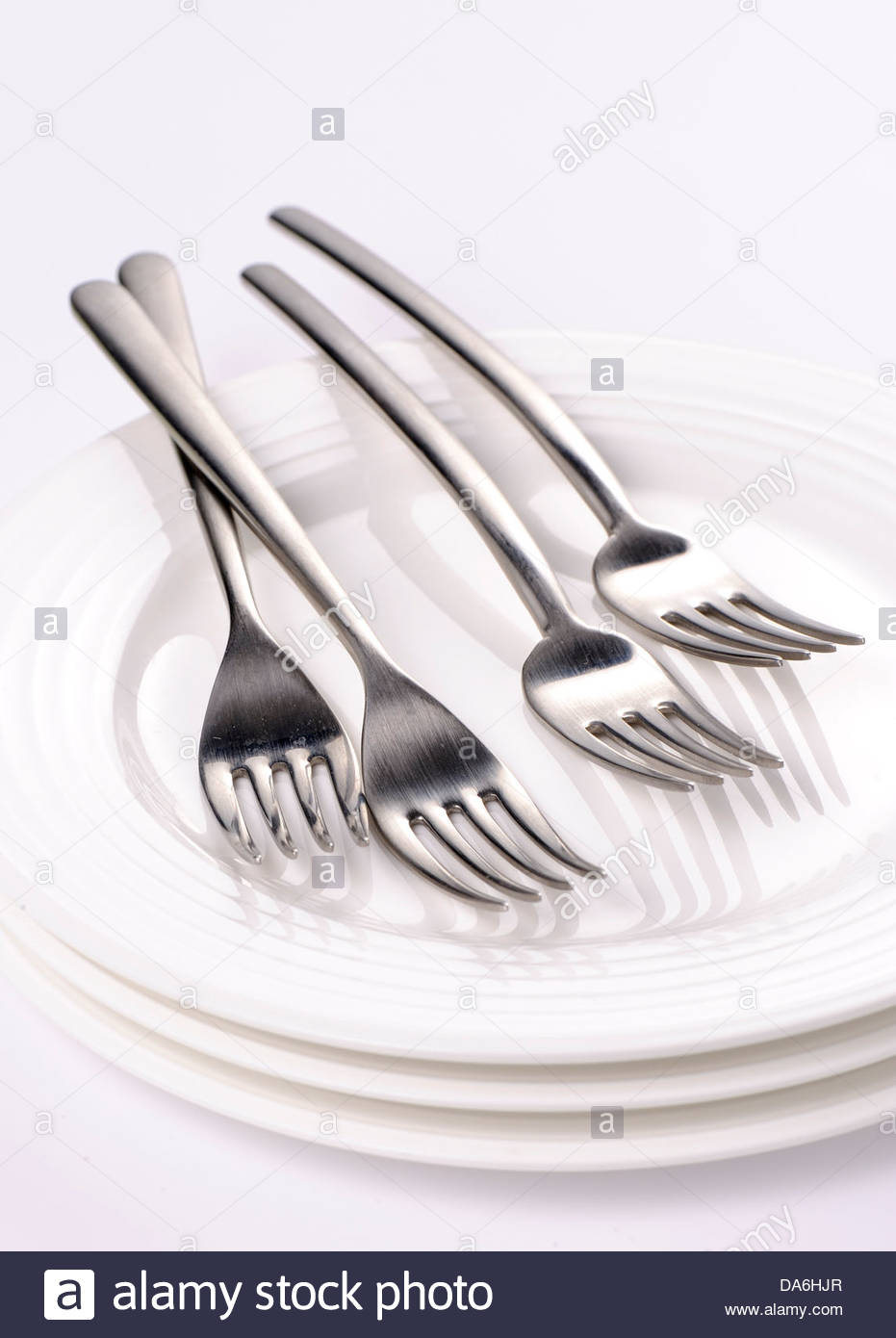 forks and dishes - Stock Image