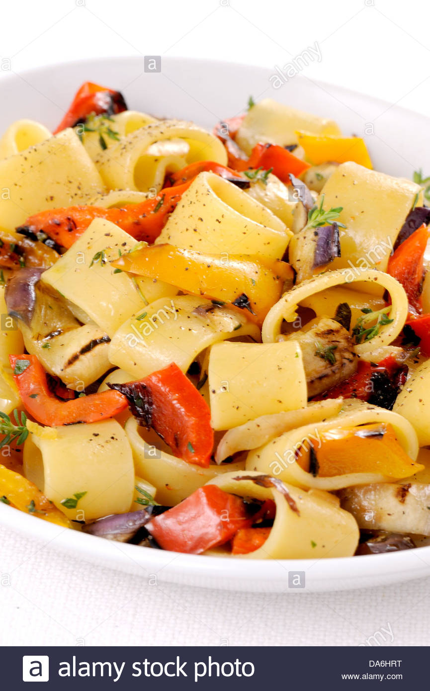 peppers and onions pasta - Stock Image