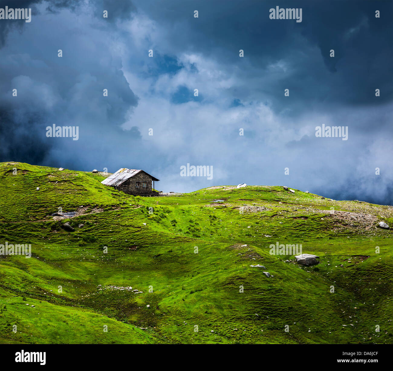 serenity serene lonely scenery background concept - house in hills