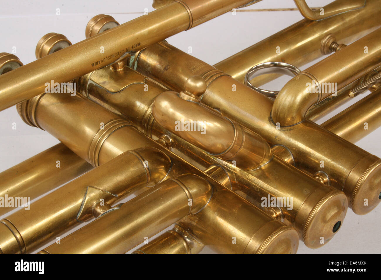The valves and tubes of a vintage brass trumpet Stock Photo ...