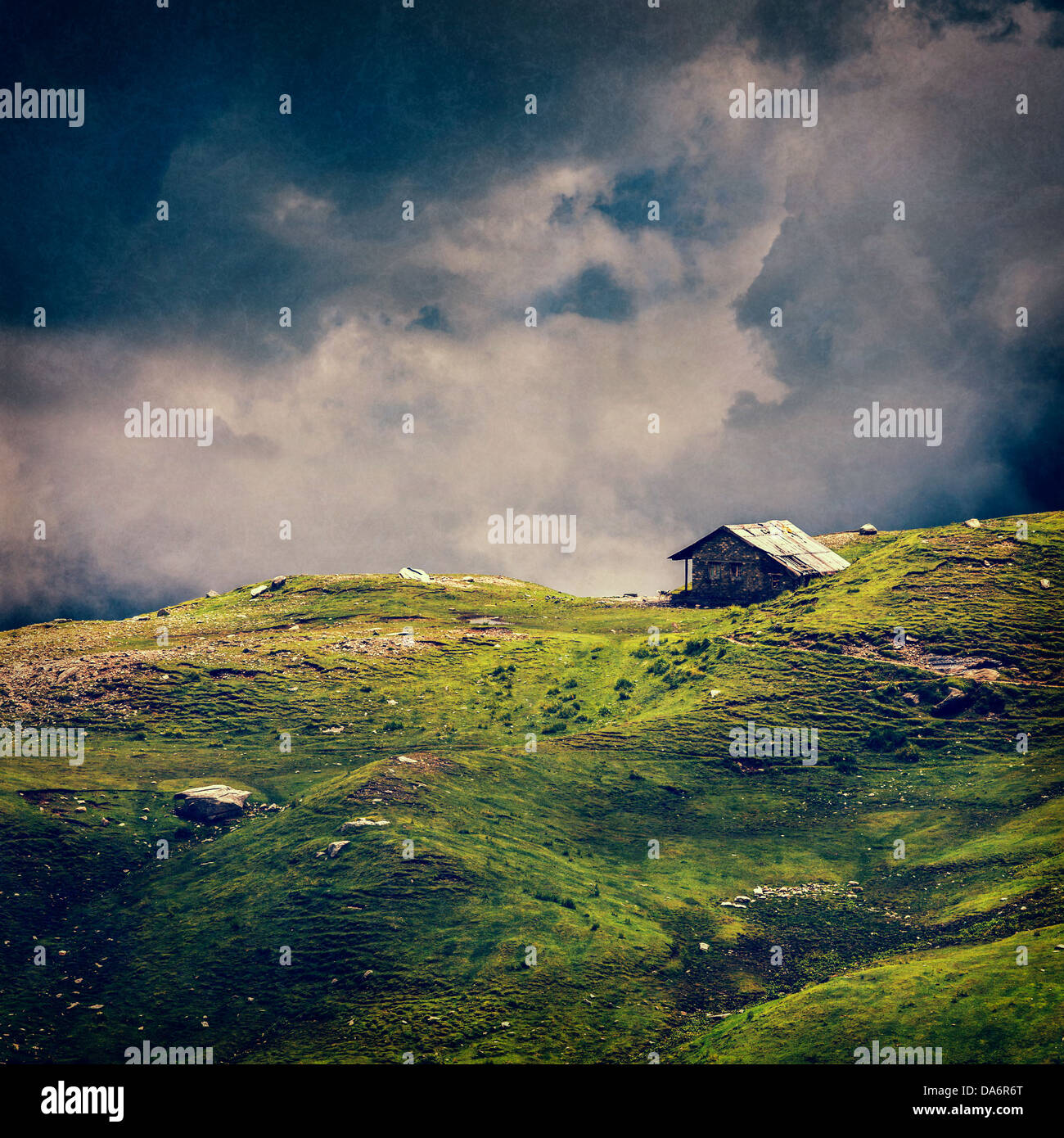 serenity serene lonely scenery background concept - old house in