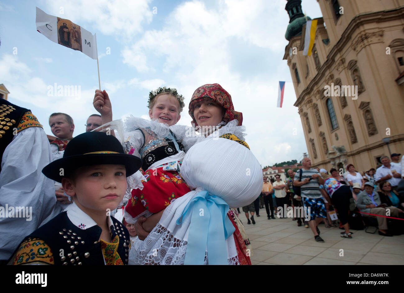Pilgrims in national costumes celebrate the 1150th anniversary of the arrival of Cyril and Methodius, Christian - Stock Image