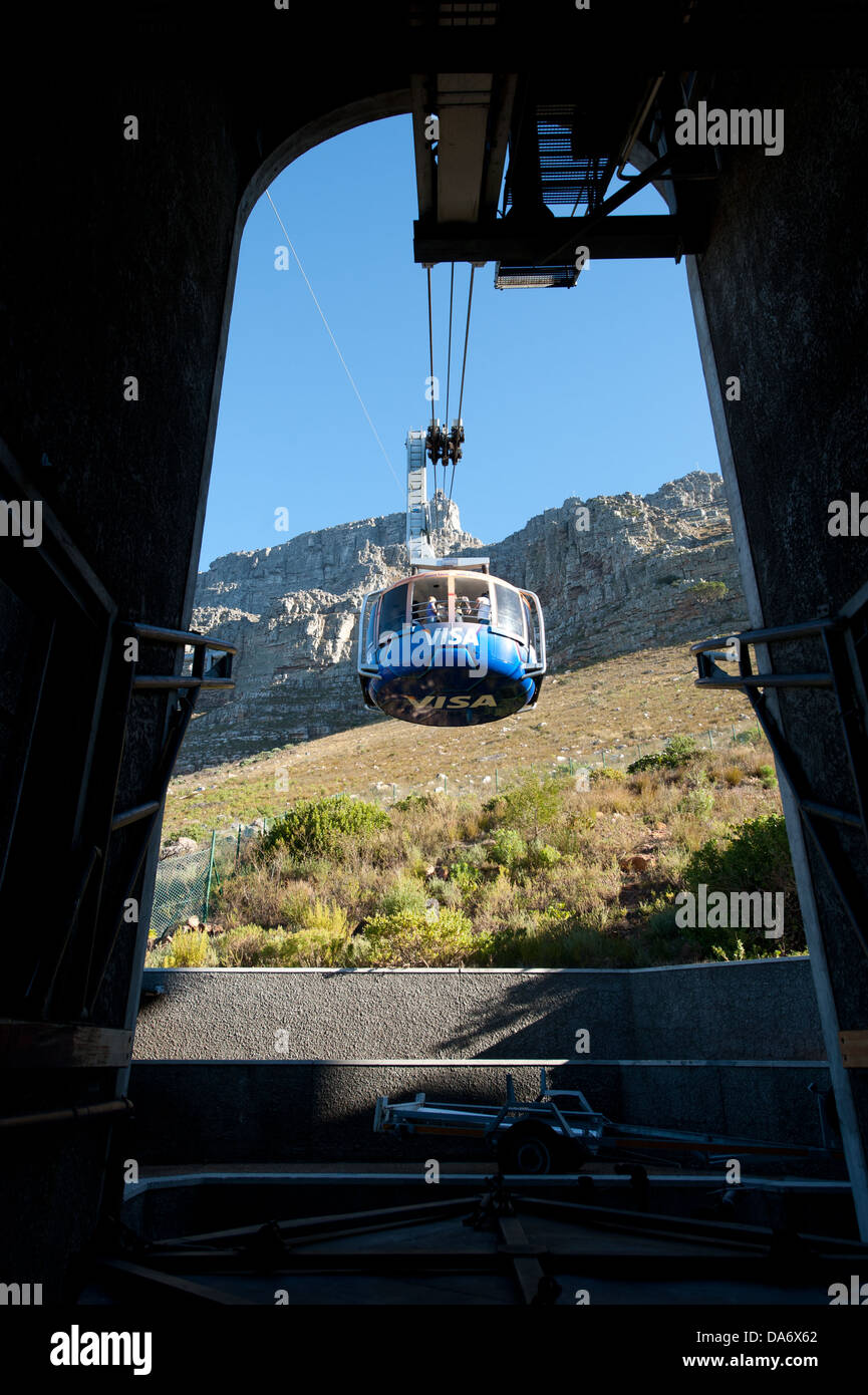 Cable car on the Cableway to the top of Table Mountain, Cape Town, South Africa - Stock Image