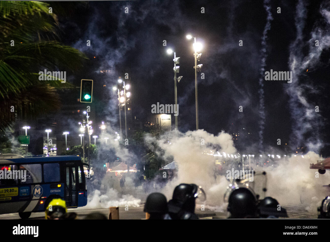 Protest in front of the house of the governor Sergio Cabral ends in conflict between police and protesters. The - Stock Image