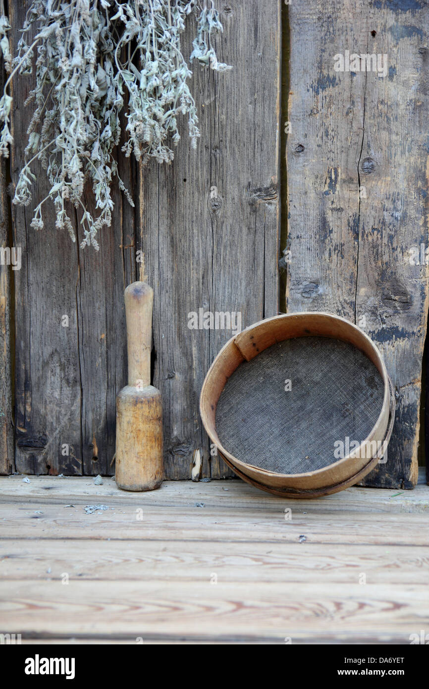 still life of an old wooden utensils and boards - Stock Image