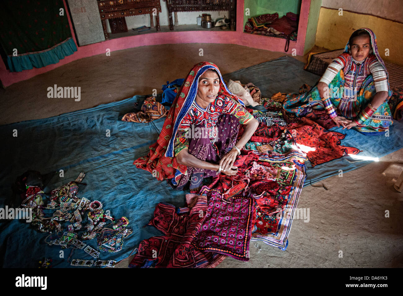 Local tribal women wearing traditional clothing in Kutch area. Gujarat. India - Stock Image