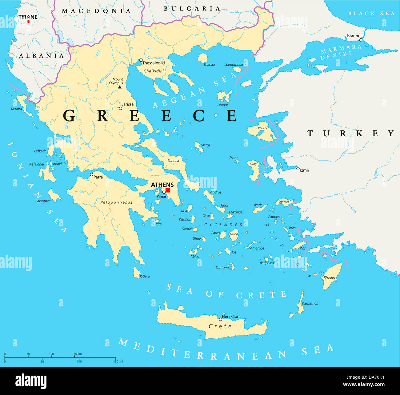 Greece Political Map Stock Photo: 57931861 - Alamy on region of greece, home of greece, greek monasteries of greece, cartogram of greece, state flag of greece, geography of greece, animals of greece, contour line of greece, landform of greece, legend of greece, detailed map greece, ptolemy of greece, greek in greece, globe of greece, world atlas greece, capital of greece, scale of greece, surrounding countries of greece, satellite view of greece, printable map greece,