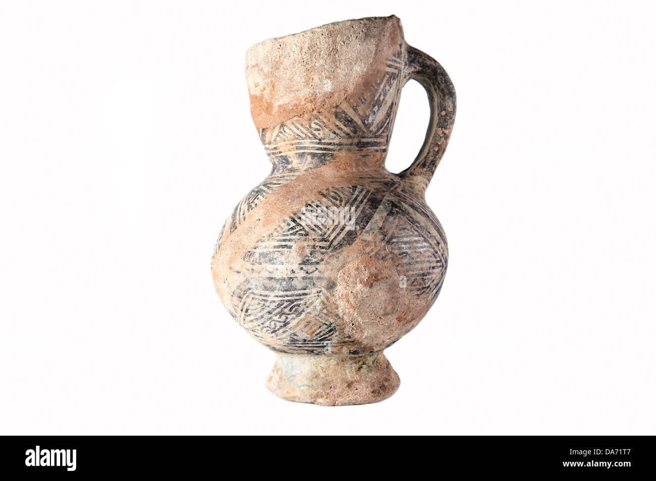 Clay old Middle Eastern jug on the white background - Stock Image