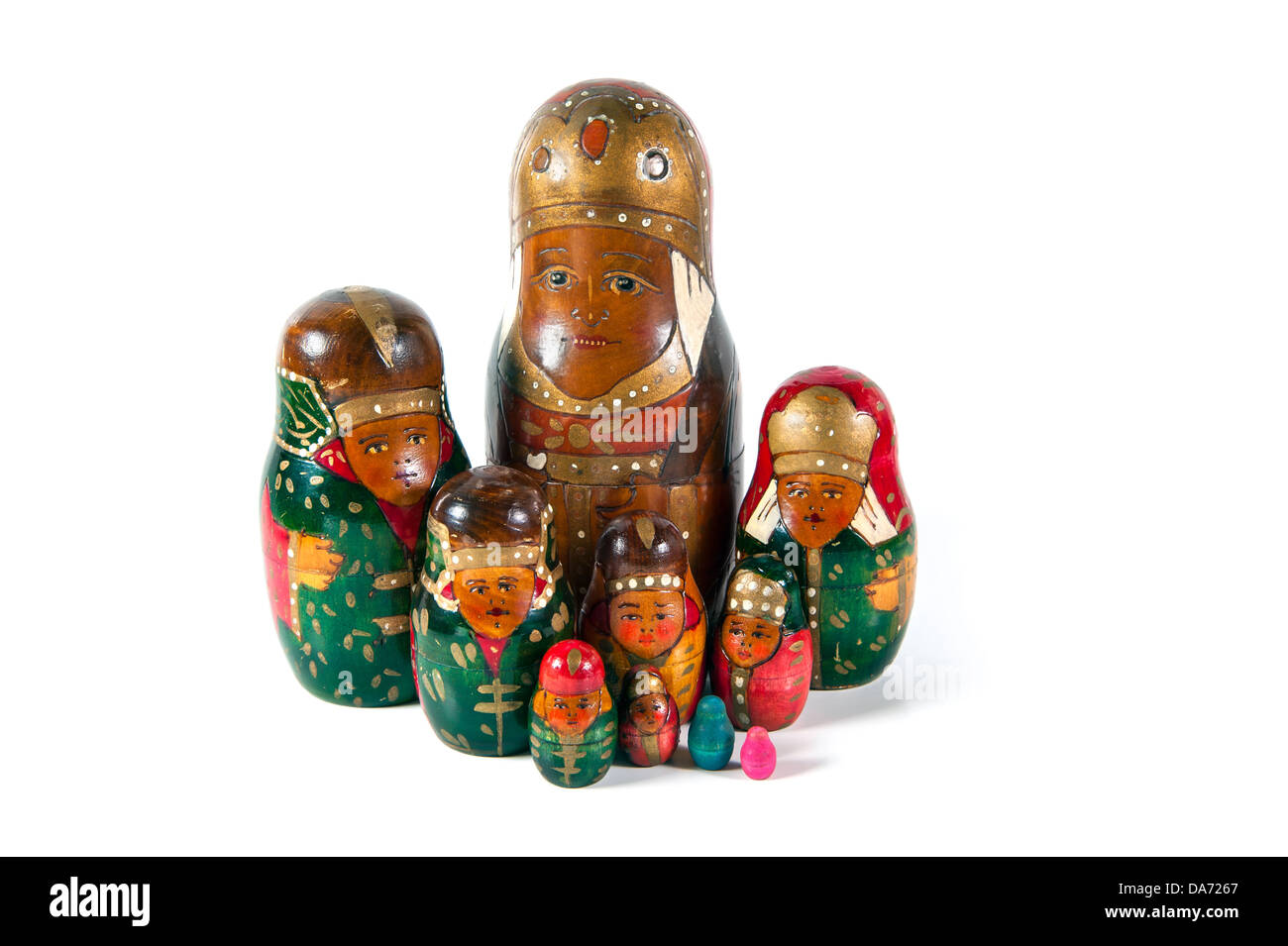 A family of an antique wooden matrioshka dolls - Stock Image