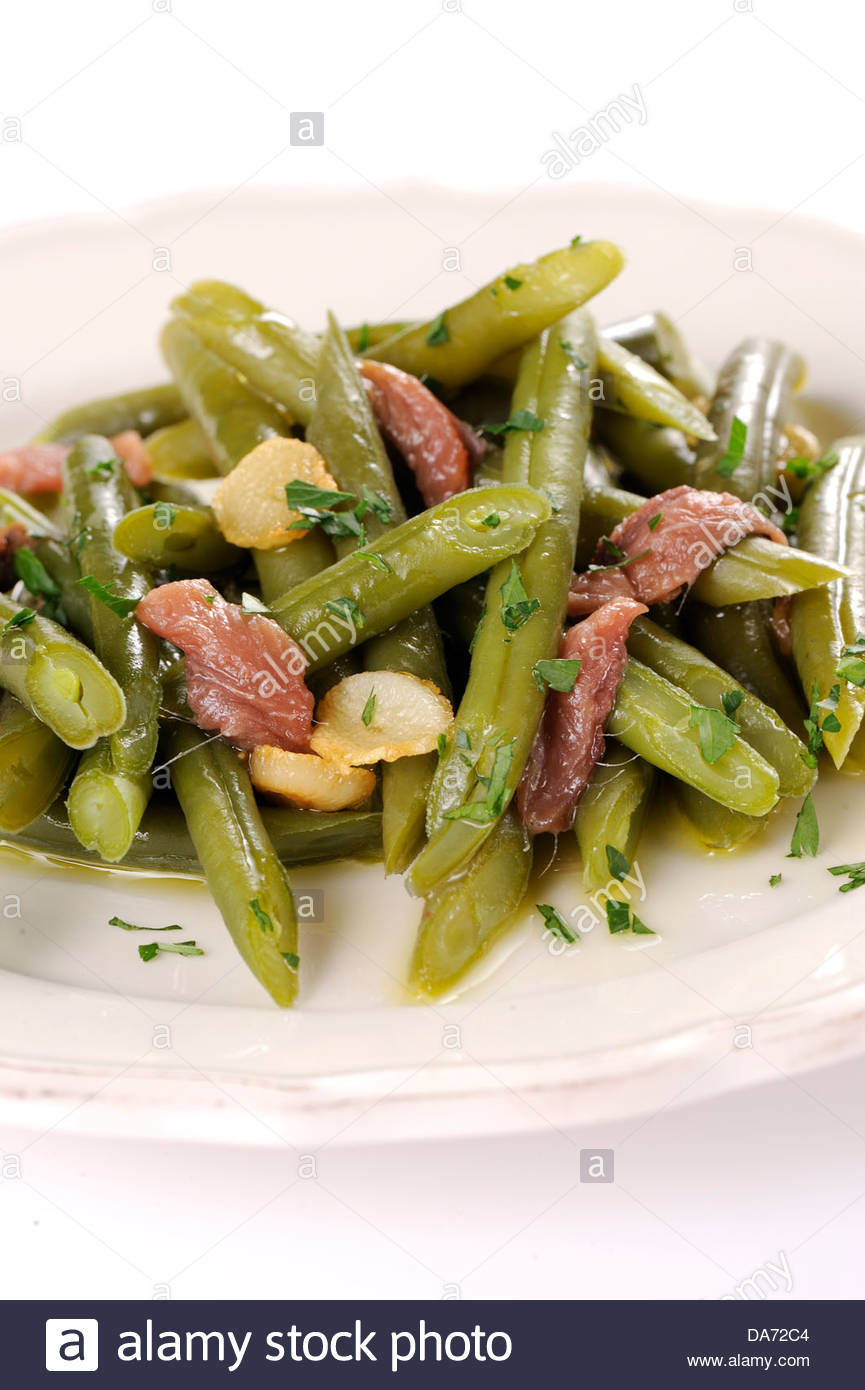 green beans and anchovies - Stock Image