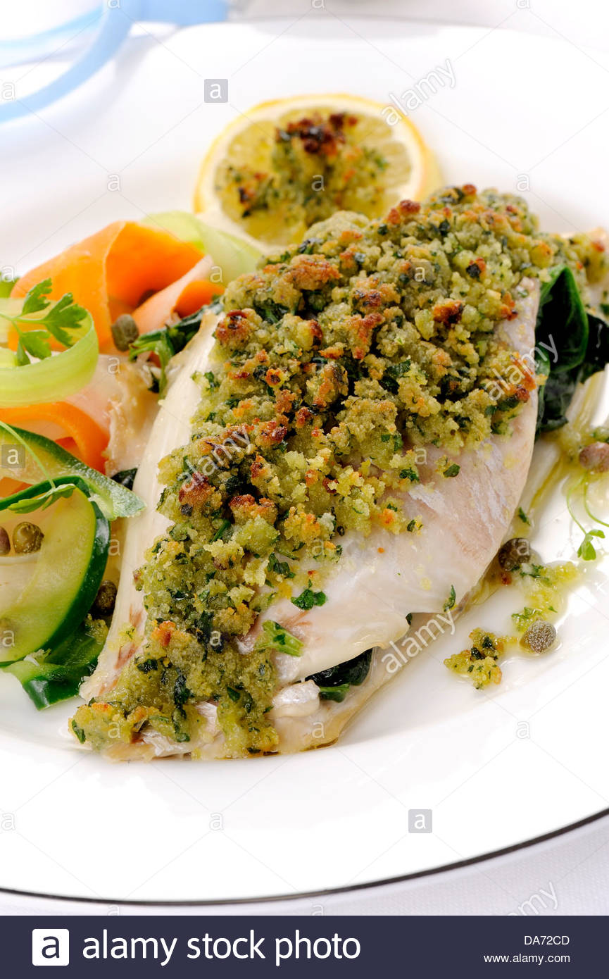 sea bream fillet with capers Stock Photo