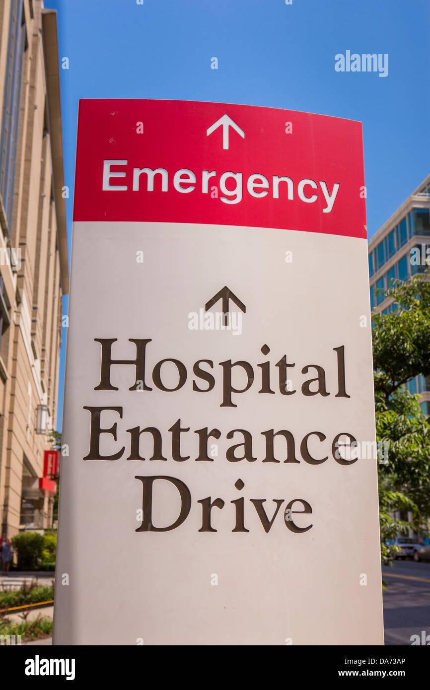 WASHINGTON, DC, USA - Emergency sign at The George Washington University Hospital. - Stock Image