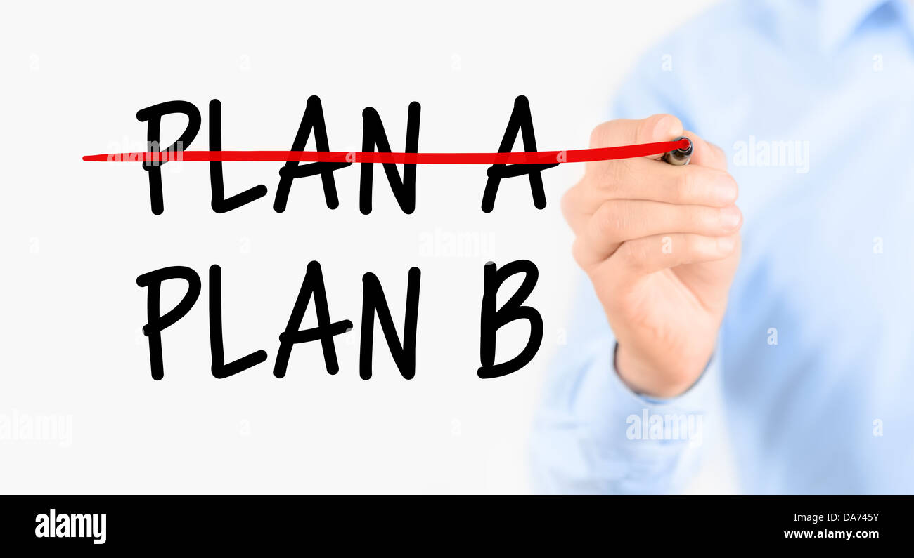 Business plan strategy changing. Businessman crossing over plan A, writing plan B. Isolated on white background. - Stock Image