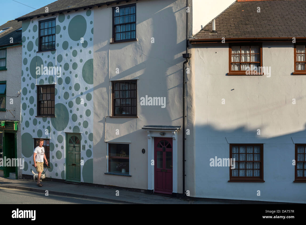Spotted terraced house, Bishop's Castle. Shropshire Stock Photo