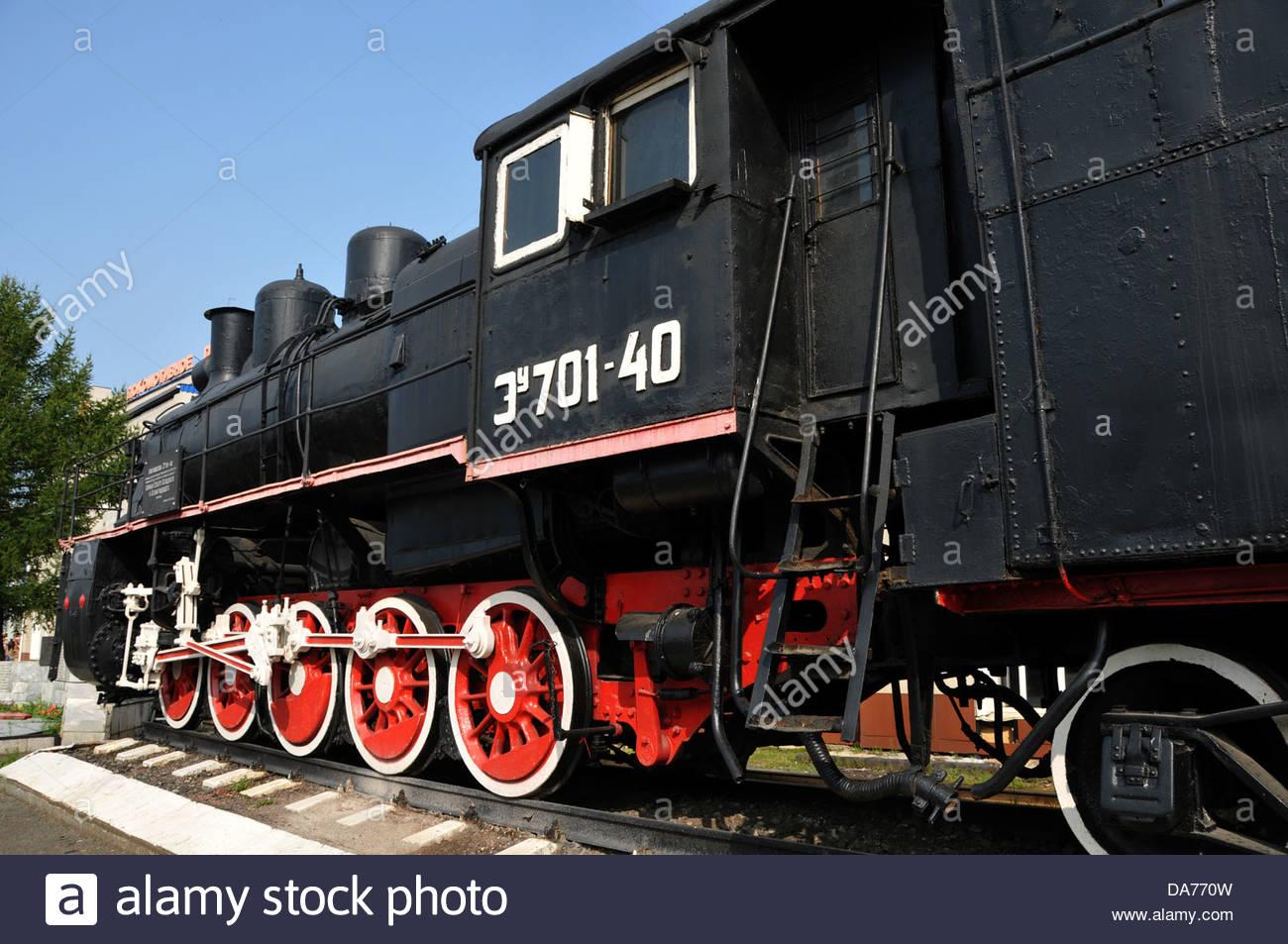 storage of old locomotives of Russian Railways RZD in Ekaterinburg,Siberia,Russia - Stock Image