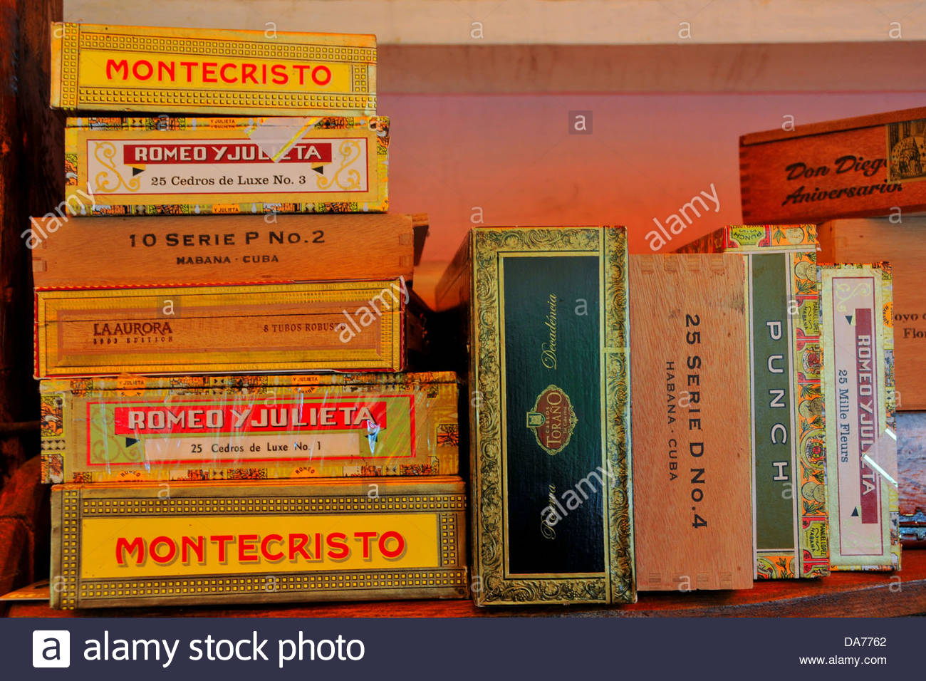 boxes of cuban cigars in a pub in khabarovsk,russia - Stock Image