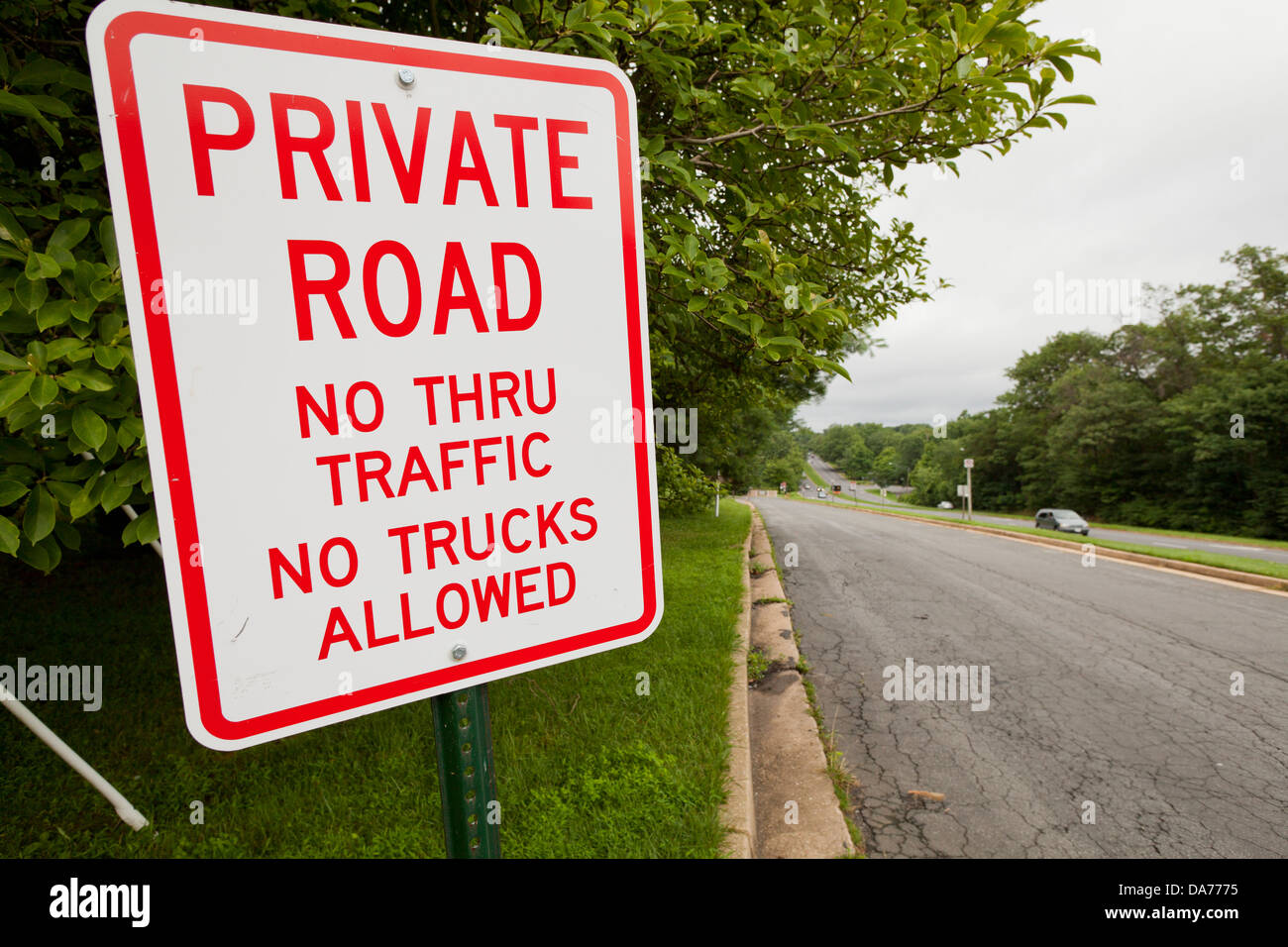 Private road sign - USA - Stock Image