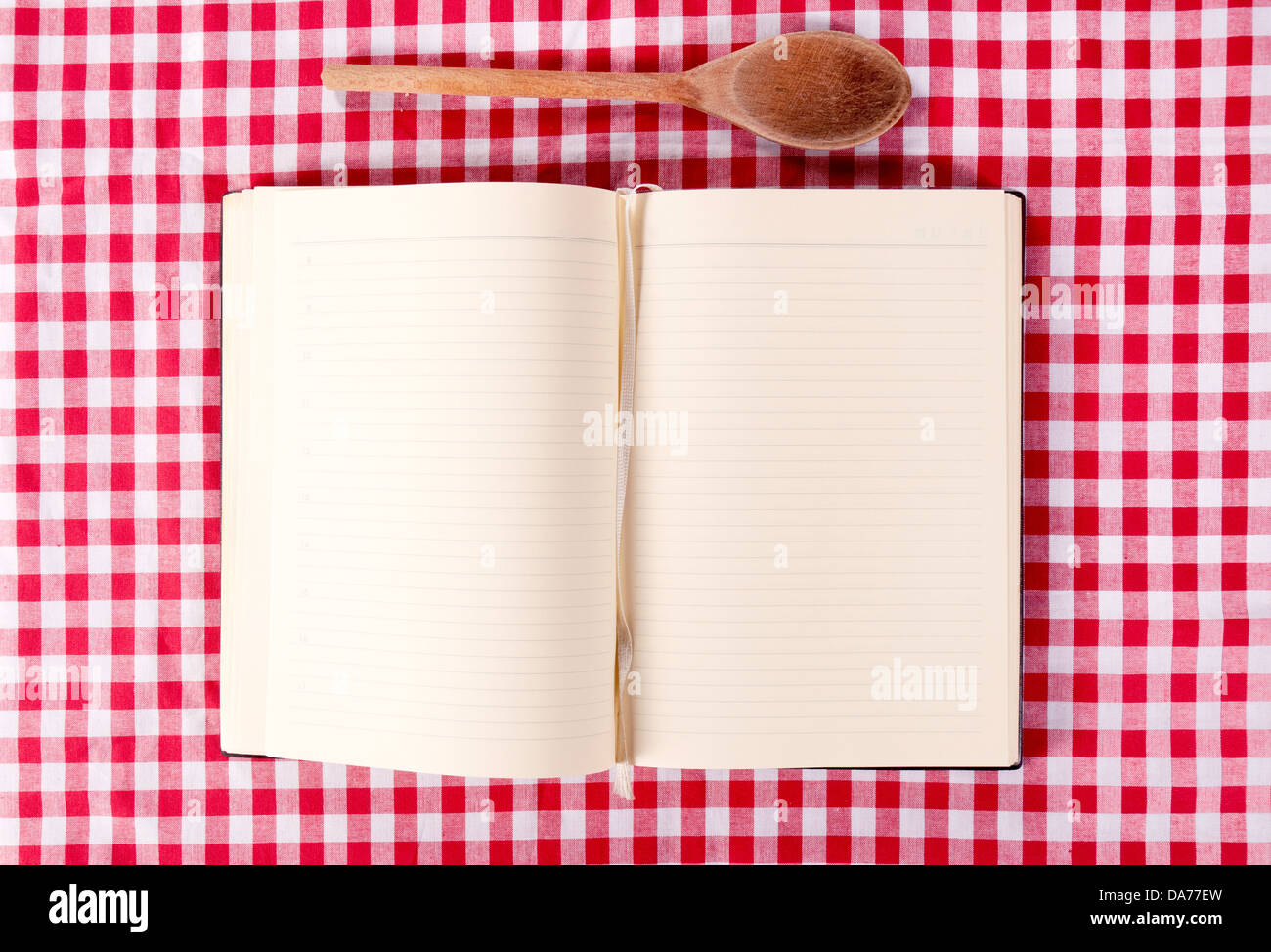 Blank Cooking Book And Wooden Ladle From Above Stock Photo 57937233