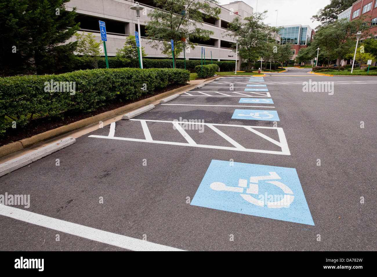 Disabled parking spaces Stock Photo