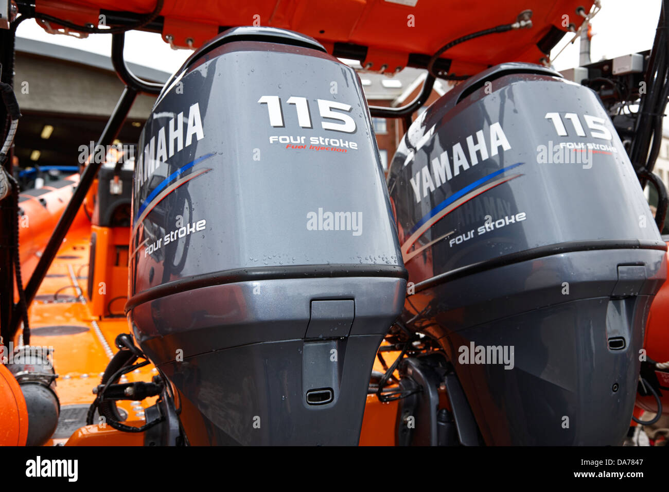 twin yamaha 115 horsepower four stroke outboard engines on rnli lifeboat county down northern ireland uk - Stock Image