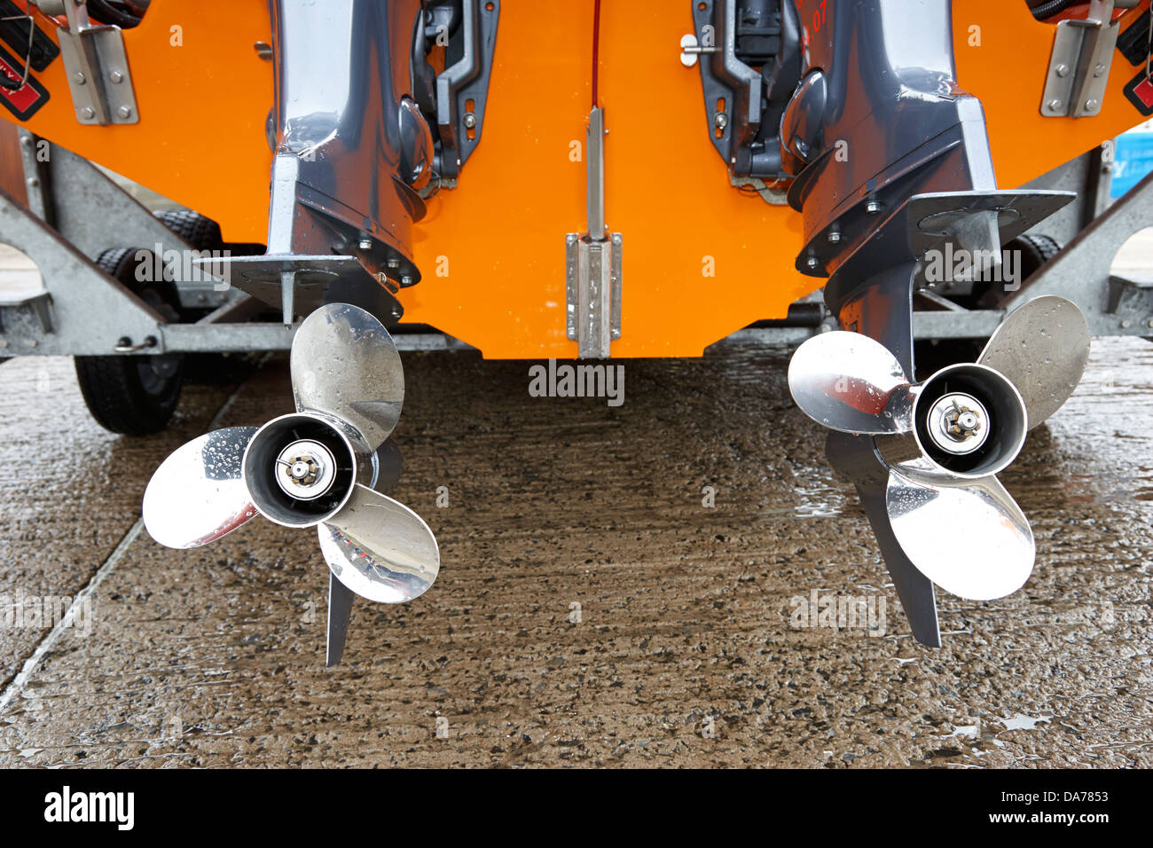 twin yamaha propellers on four stroke outboard engines on rnli lifeboat county down northern ireland uk - Stock Image