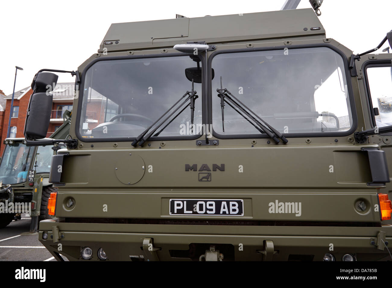 british army man support vehicle on armed forces day display county down northern ireland uk - Stock Image