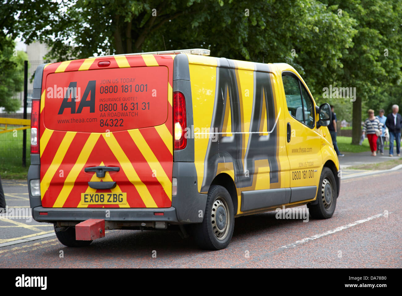 yellow aa recovery vehicle on callout county down northern ireland uk - Stock Image