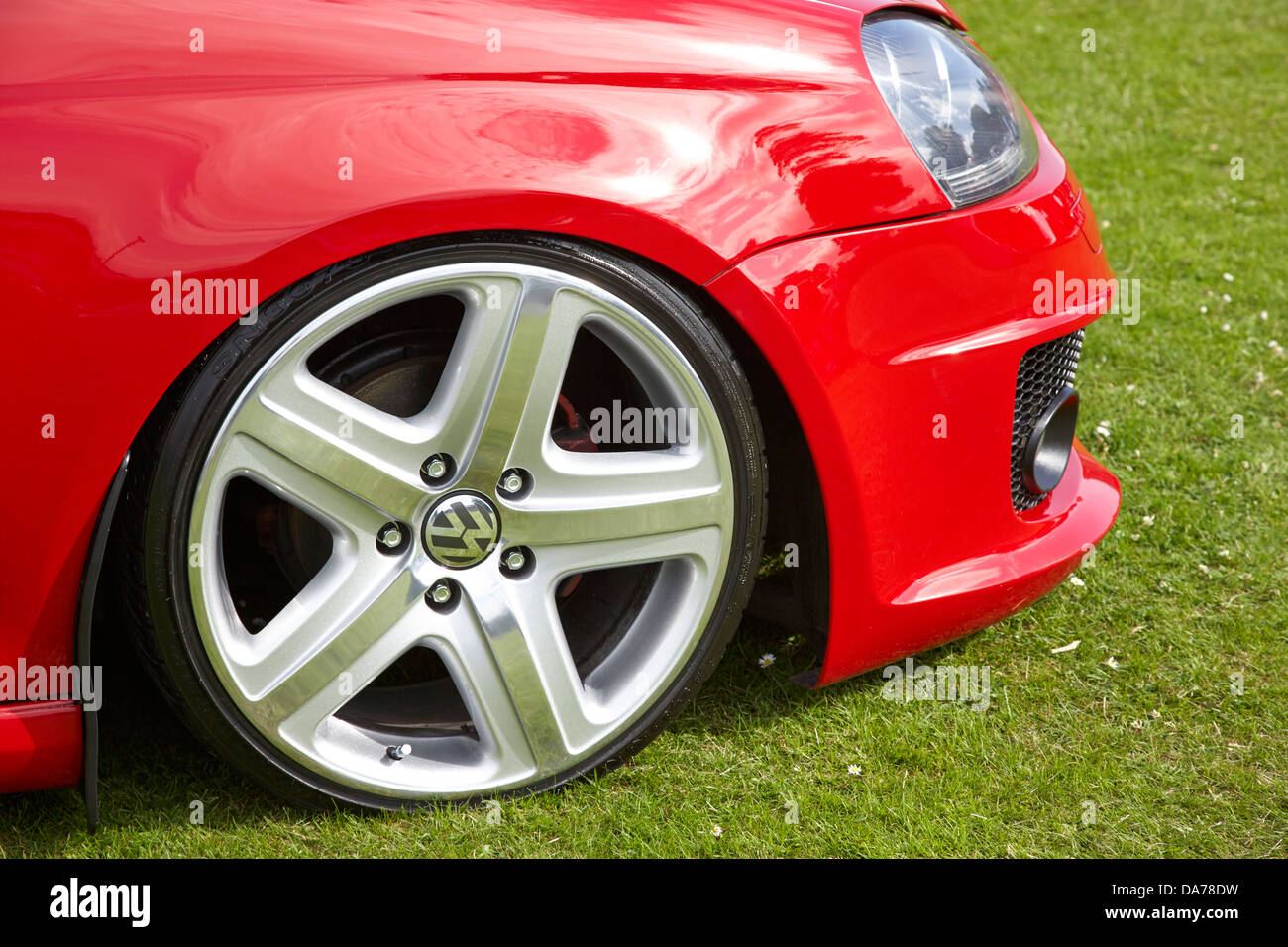 lowered low profile alloy wheel modified custom performance car show county down northern ireland uk - Stock Image