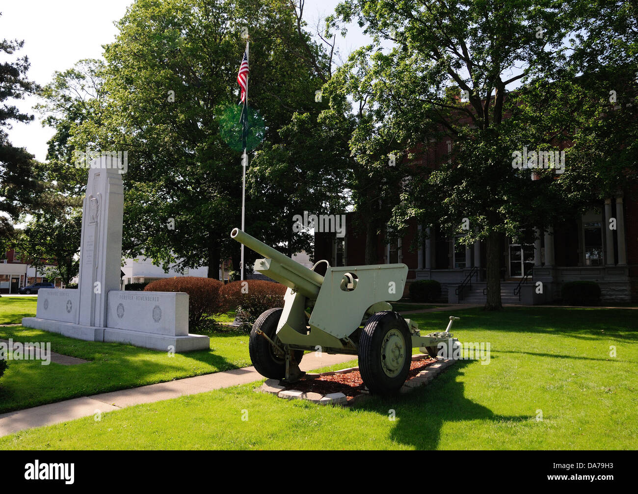 Veterans War memorial at Jasper County Illinois, USA - Stock Image