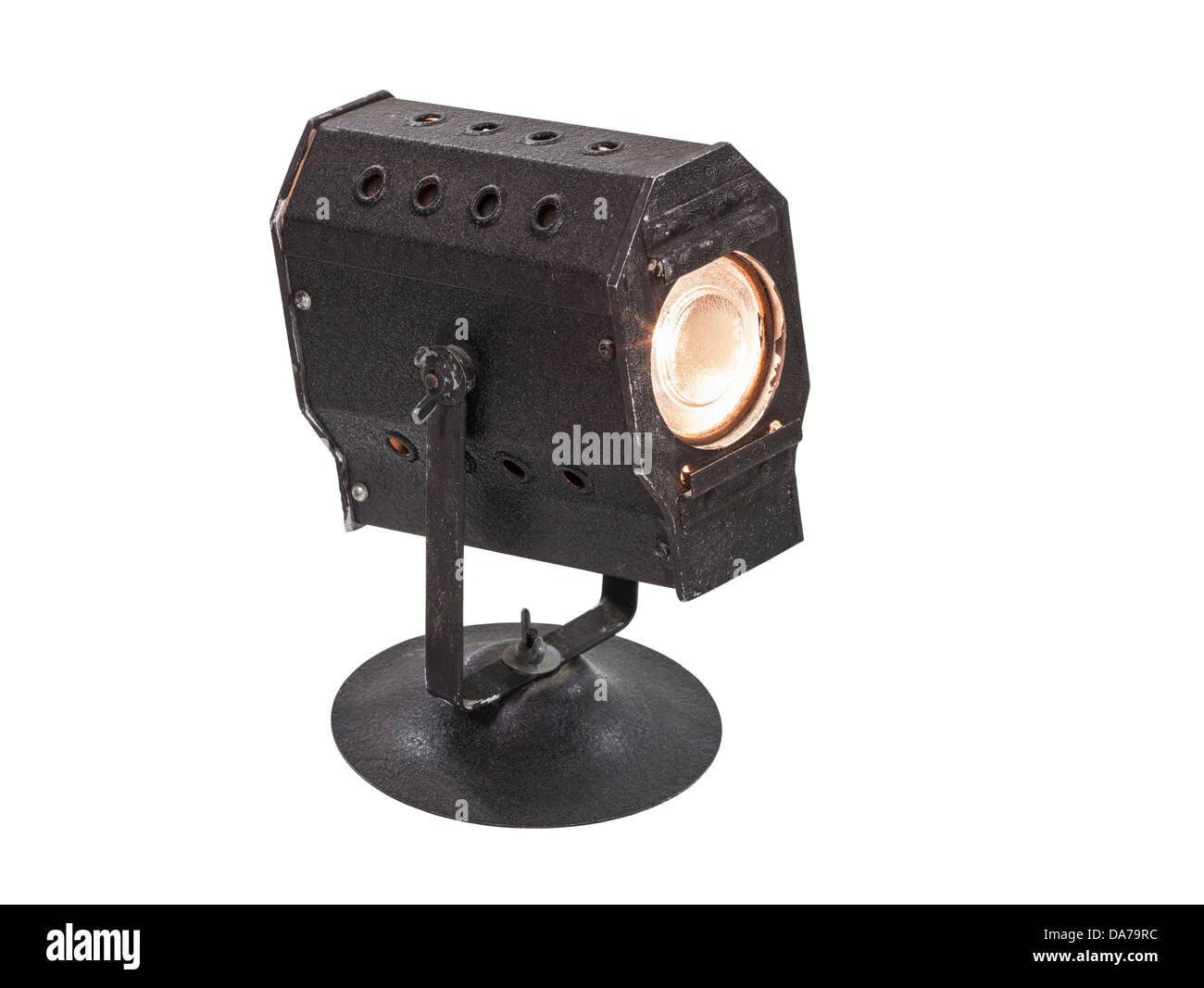 Vintage mini theatrical spot light isolated with clipping path. - Stock Image