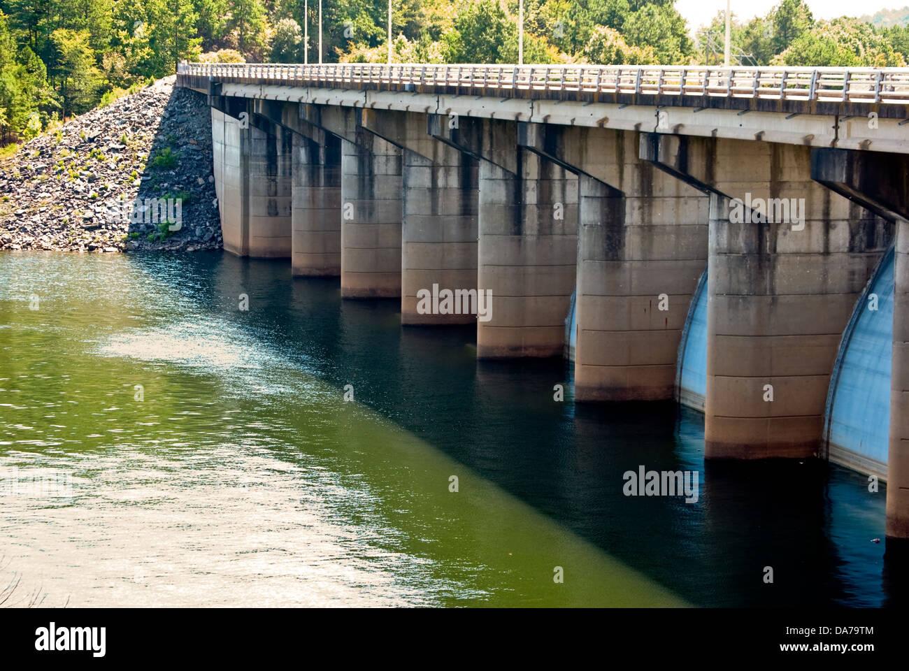 River dam in Oklahoma with a bridge - Stock Image