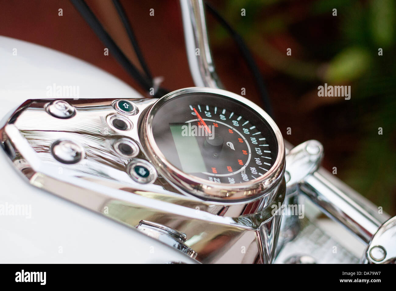 The Hyosung 700cc cruiser bike, one of the more affordable cruisers in India, shows the speedometer - Stock Image