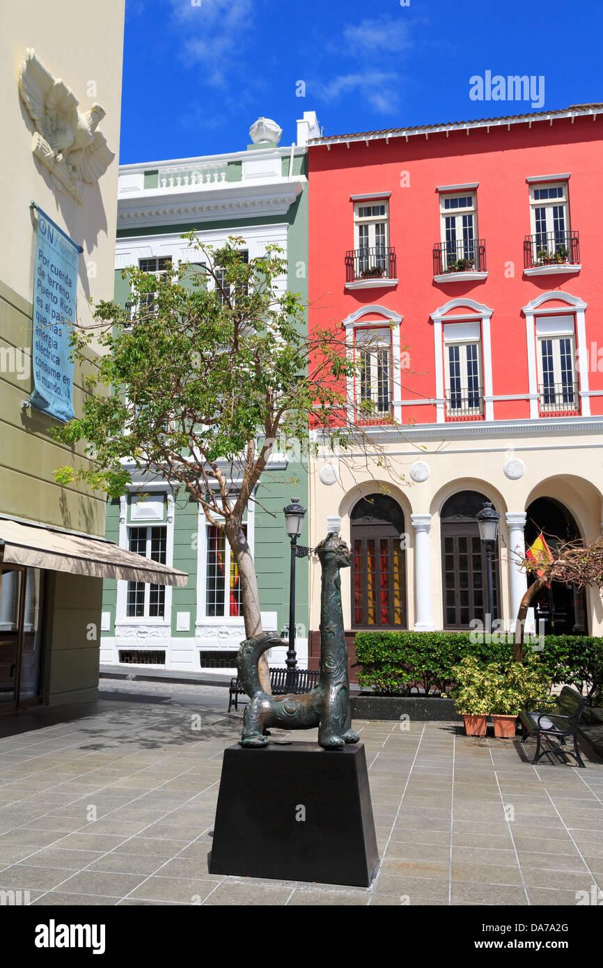 Banco Popular on Plaza Rafael Carrion Paceco,Old San Juan,Puerto Rico,Caribbean - Stock Image