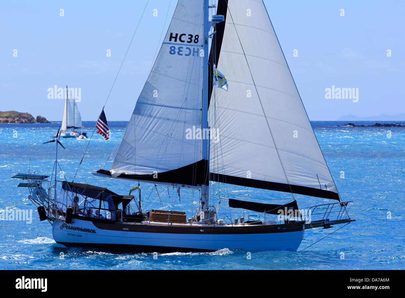 Sailing in Cruz Bay,St. John,United States Virgin Islands,Caribbean Stock Photo