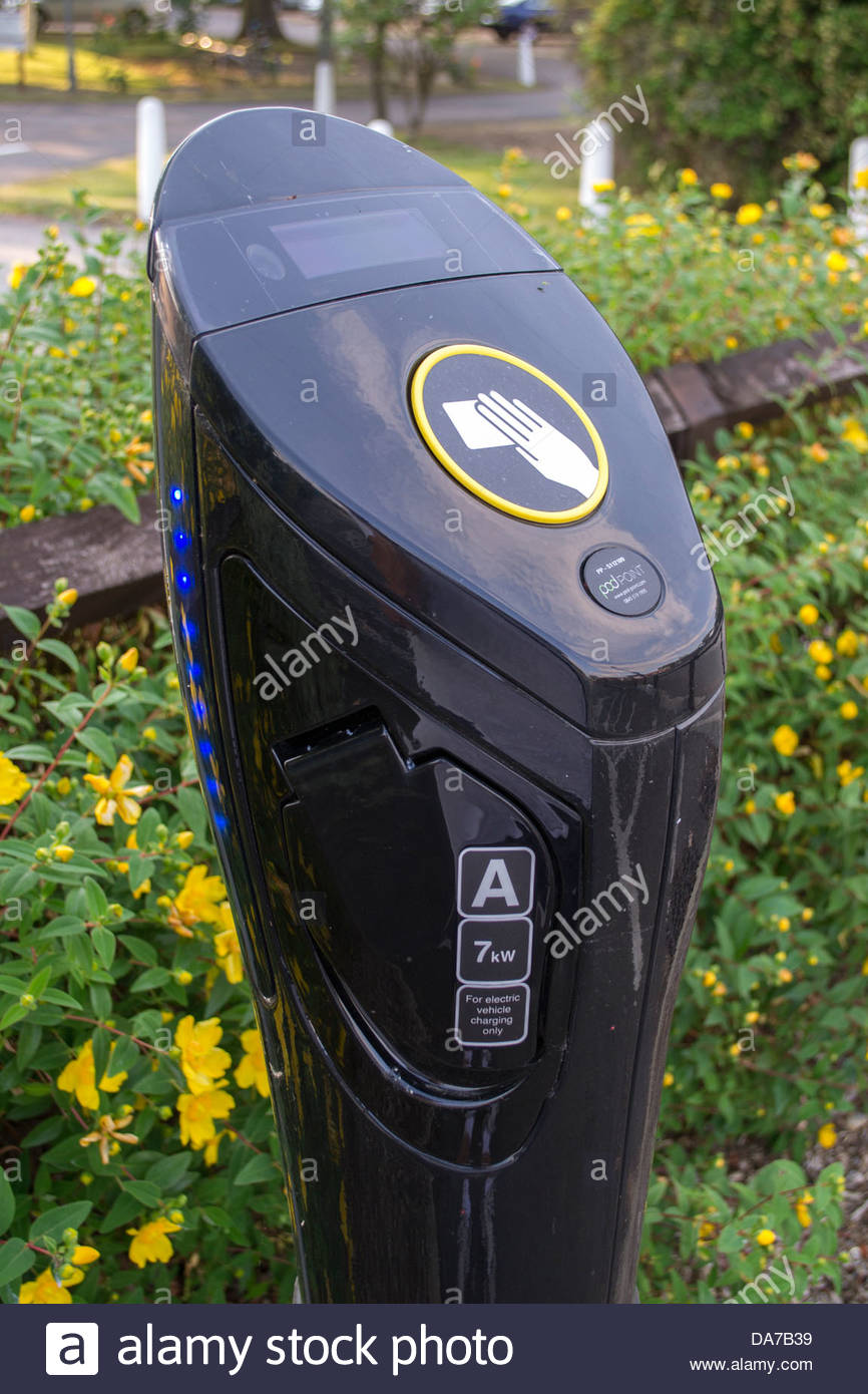 Park and Recharge point for electric vehicles in Godmanchester, Cambridgeshire - Stock Image