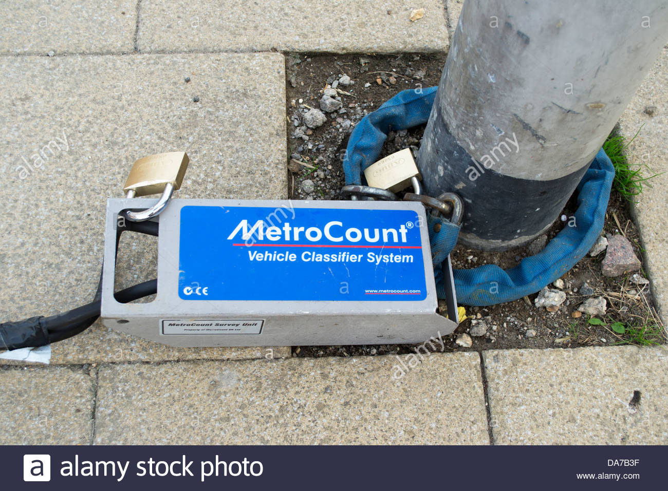 Metrocount portable vehicle monitoring system installed in Godmanchester. - Stock Image