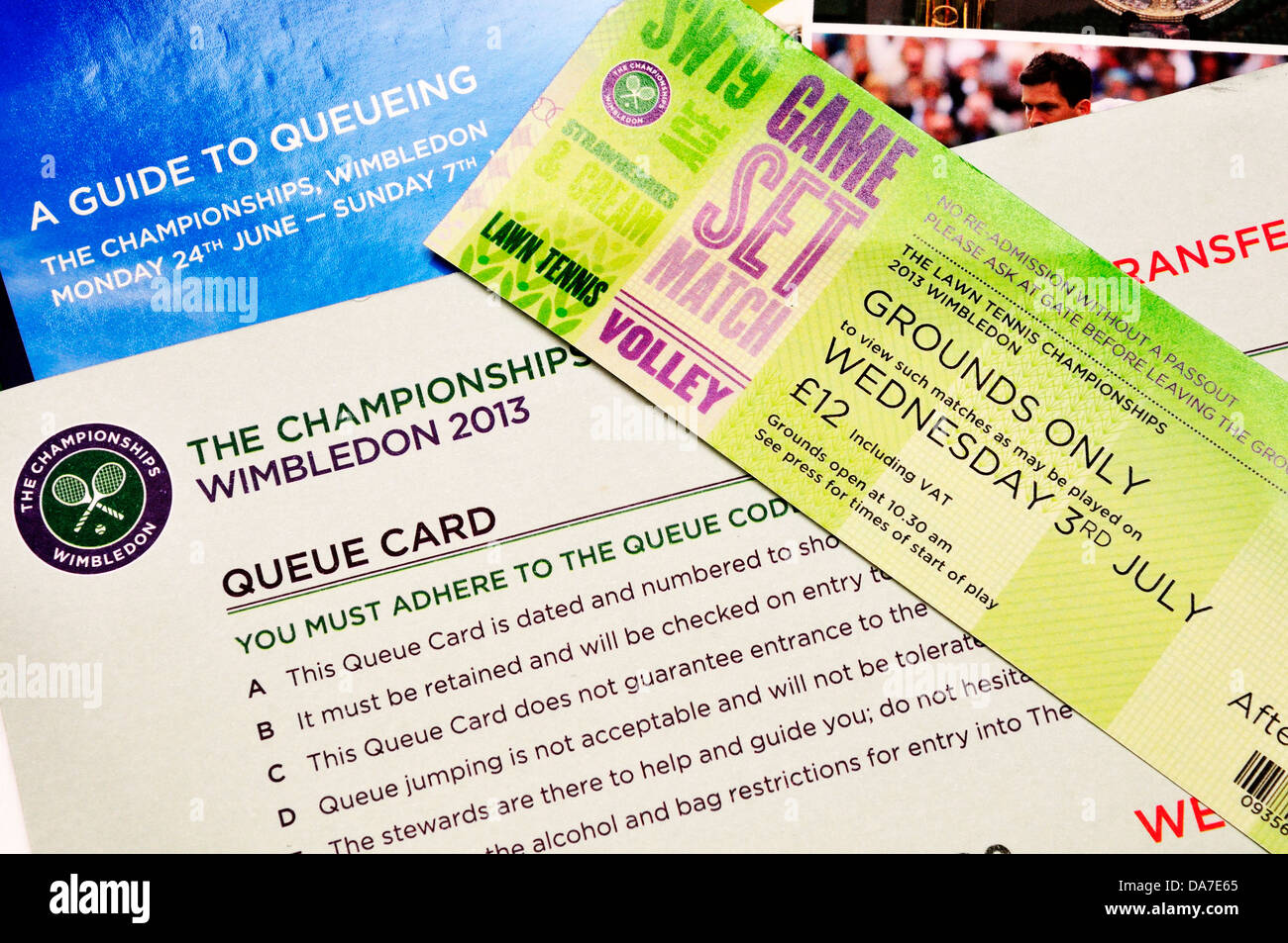 Wimbledon ticket 2013 - Late entry ground pass, queue card and 'A Guide to Queuing' - Stock Image