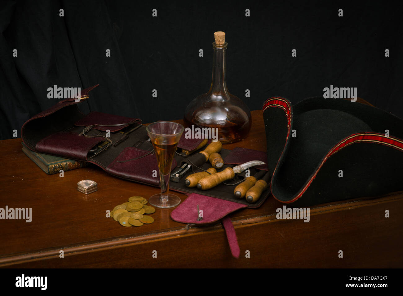 Still life showing 18th Century  male possessions arranged on a table - Stock Image