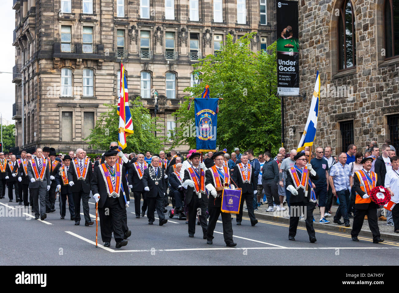 6th July 2013 Glasgow, Scotland, UK The annual Orange Walk [Loyal Orange Lodge Parade] took place through Glasgow - Stock Image
